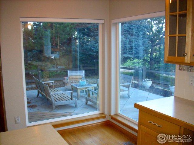 Glass framed kitchen nook area
