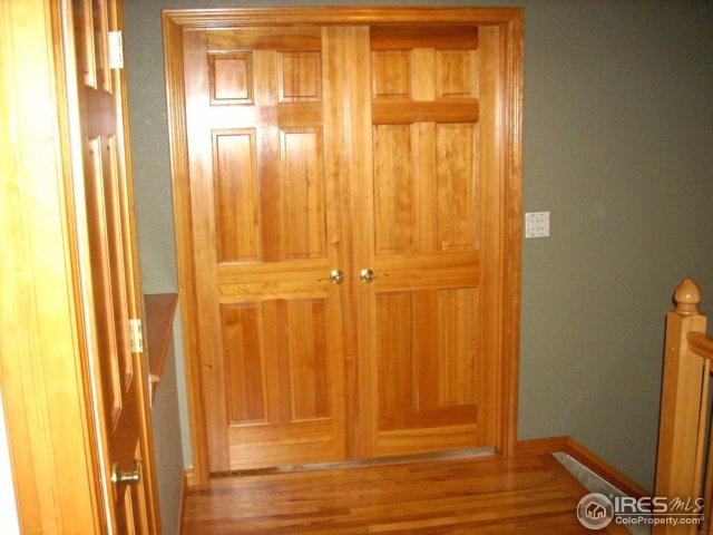 6 panel solid core fir doors & stained fir trim