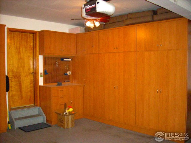 Tons of custom storage areas in garage