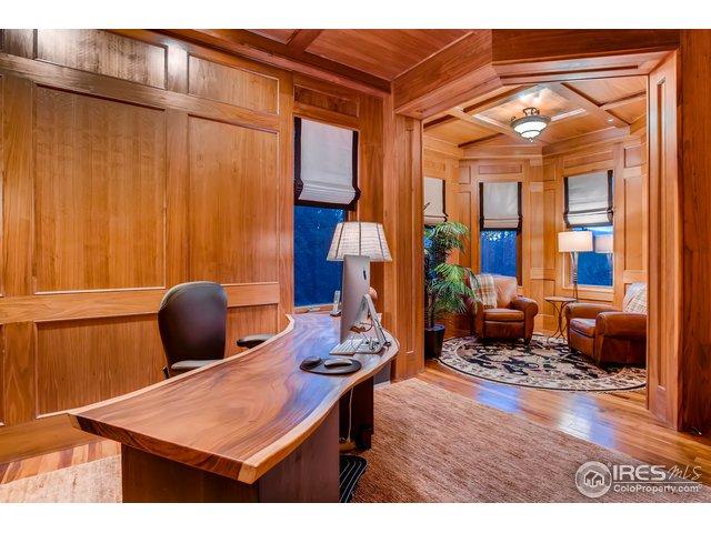Main Floor Office w Fireplace & Walnut Paneling