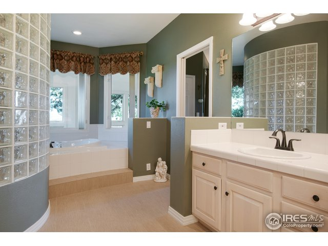 5 pc. Master bath, walk in shower, jetted tub