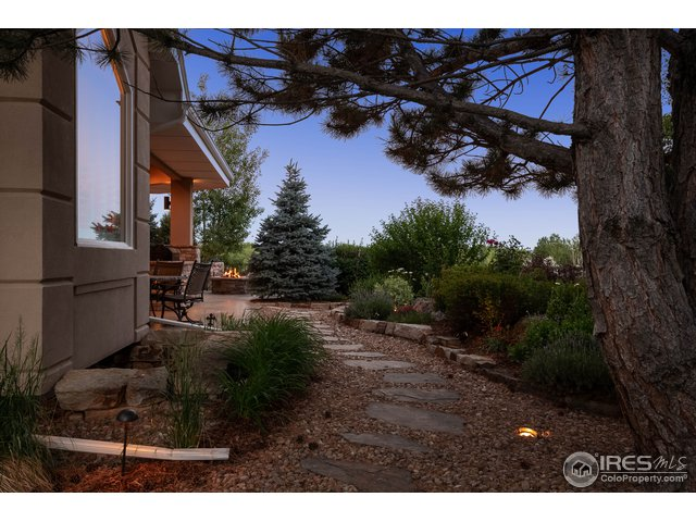 Outdoor lighting and paths to fire pit