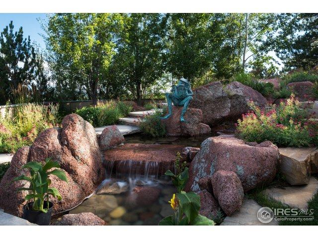 Custom fountain with cascading waterfall.