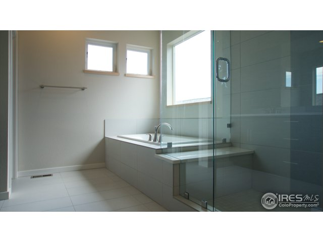 Soaking tub, shower with Euro glass & seat example