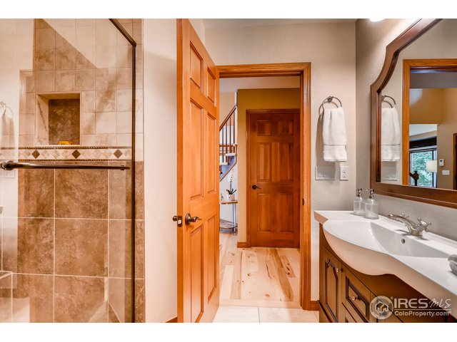 Main floor guest bathroom with shower