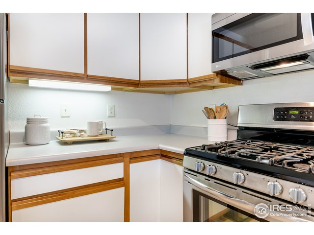 Updated kitchen with stainless appliances.