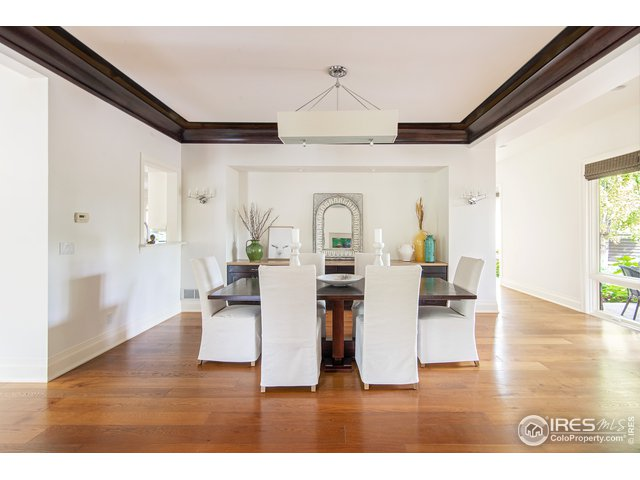 Cozy dining area with architectural columns